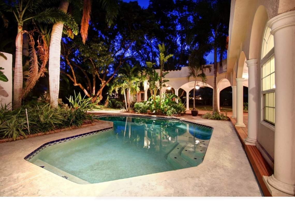Poolside Entertaining Space by Night
