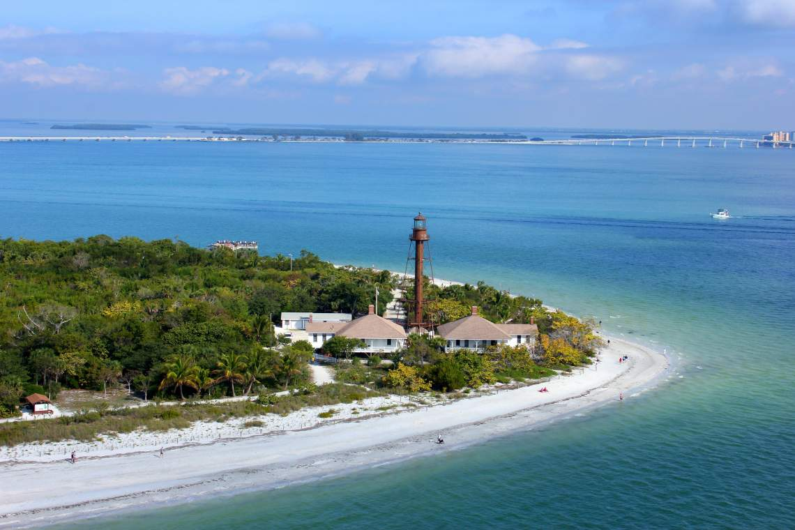 Sanibel Island Lighthouse and East End of Island